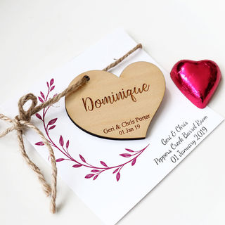 Personalised Wedding Favour -  Wooden Boho Heart