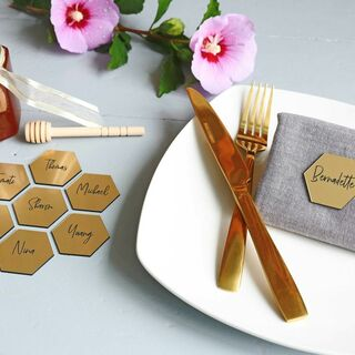 Brushed Gold Favours - Hexagon, Hearts & Circles - Medium