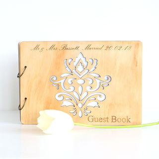 Wood Guest Book - Damask
