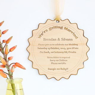 Engraved Wood Invitations - Bottle Cap