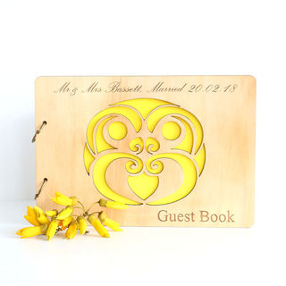 Engraved Wooden Guest Book - Tiki