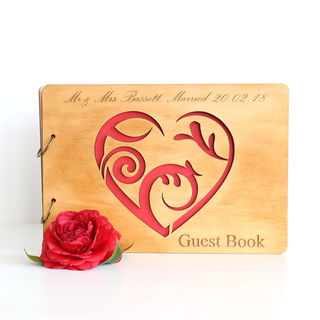 Wood Guest Book - Heart
