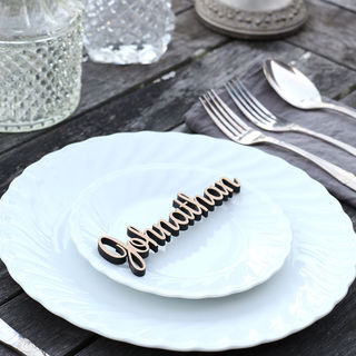 Laser Cut Guest Table Names - Fancy Lettering in Wood