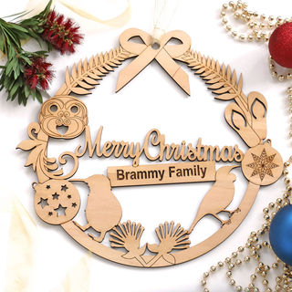 Personalised Kiwiana Christmas Wreath - Wood