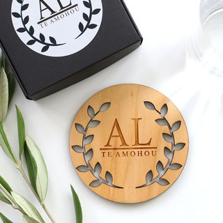 Monogrammed Olive Leaf Cut-Out Coaster Set - Wood