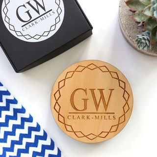 Monogrammed Geometric Coaster Set - Wood