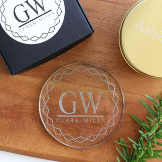 Monogramed Geometric Coaster Set - Glass