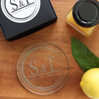 Monogrammed Circles Coaster Set - Glass