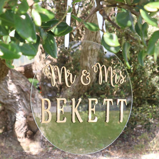 Mr & Mrs Wedding Sign - Round Wooden & Acrylic