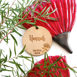 New Zealand Themed Favour - Pohutukawa Circle Tag