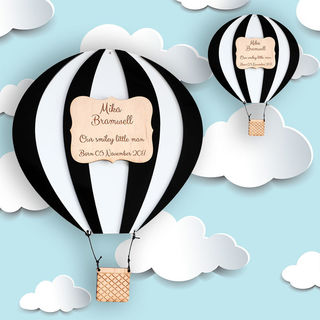 Christening & Newborn Gifts - Black & White Hot Air Balloon
