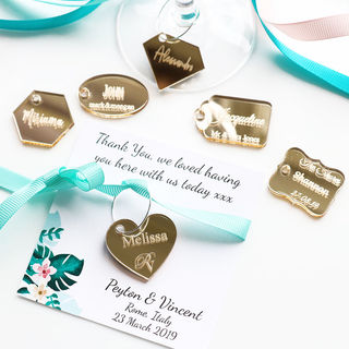 Personalised Wine Glass Charms - Gold