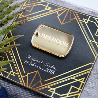 Wedding Favour - Gold Dog Tag