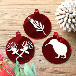 New Zealand Christmas Baubles - Red