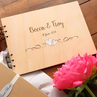 Engraved Guest Book - Hearts with Pearl Shell Inlay