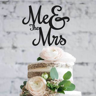 Cake Topper - Me & the Mrs in Black or White
