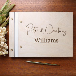 Guest Book / Album - Cream Leather Bound - Birch