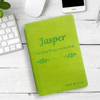 Personalised Leather Journal - Lime Green