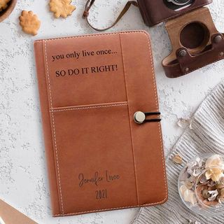 Personalised Leather Journal - Dark Brown