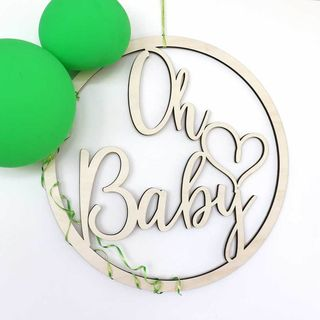 Oh Baby - Round Wooden Hoop Sign