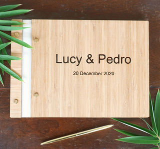 Guest Book / Album - Cream Leather Bound - Bamboo