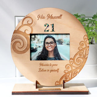 21st Birthday Sign with Photo Insert and Stand - Maori or Pasifika