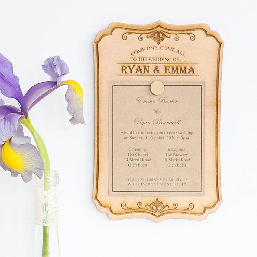 Wood wedding invitations that can be reused Vintage sign with magnet