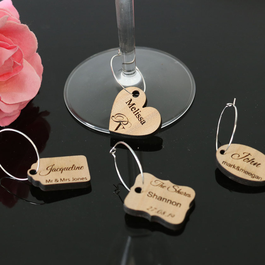 Personalised Wine Glass Charms - Wood