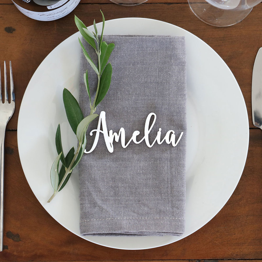 Laser Cut Guest Table Names - Boho Style in White