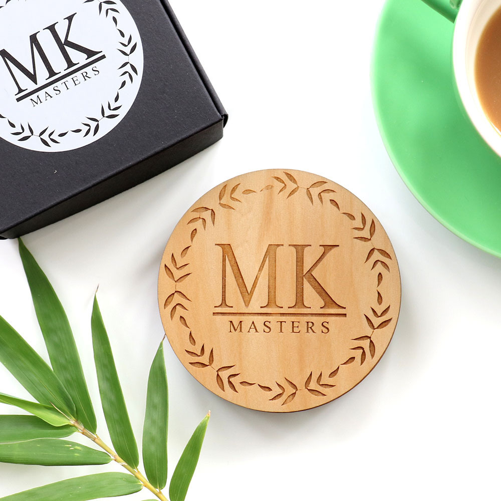 Monogrammed  Bamboo Leaf Coaster Set - Wood