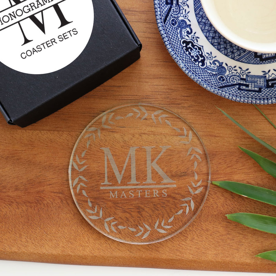 Monogramed Bamboo Leaf Coaster Set - Glass
