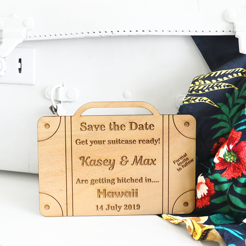 Save the Date Cards - Wooden Suitcase