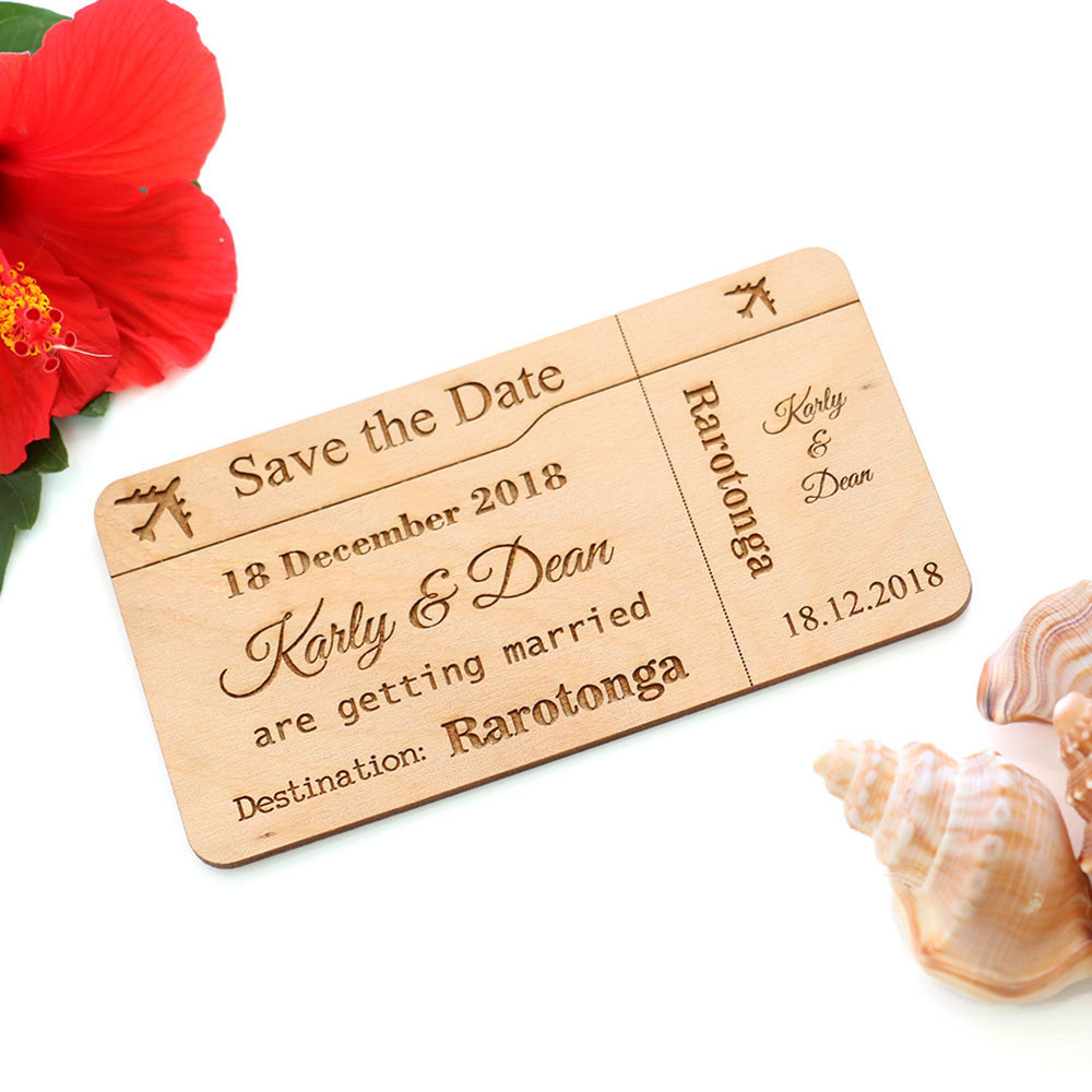 Wooden Save the Date Cards - Airplane Ticket