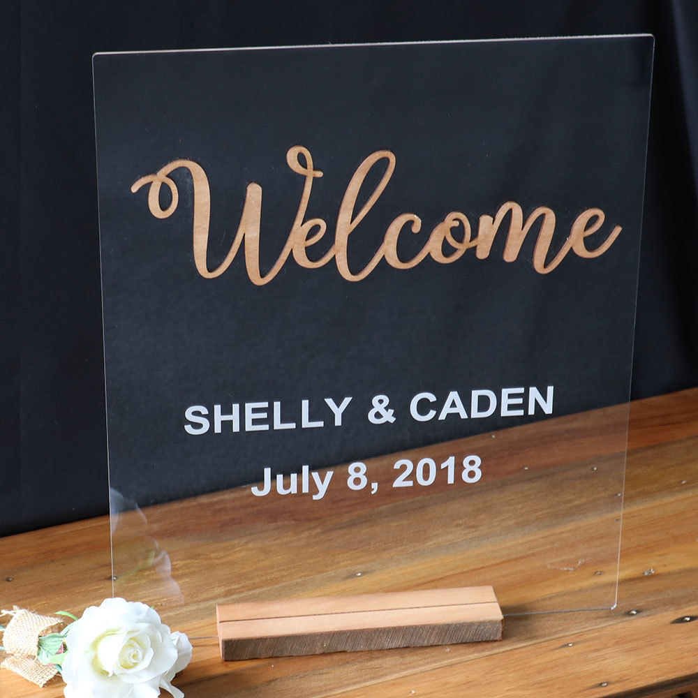 Wedding Welcome Sign - Wood & Acrylic