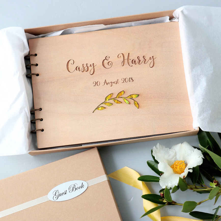 Guest Book or Photo Album - Yellow Leaf Paua Shell Inlay