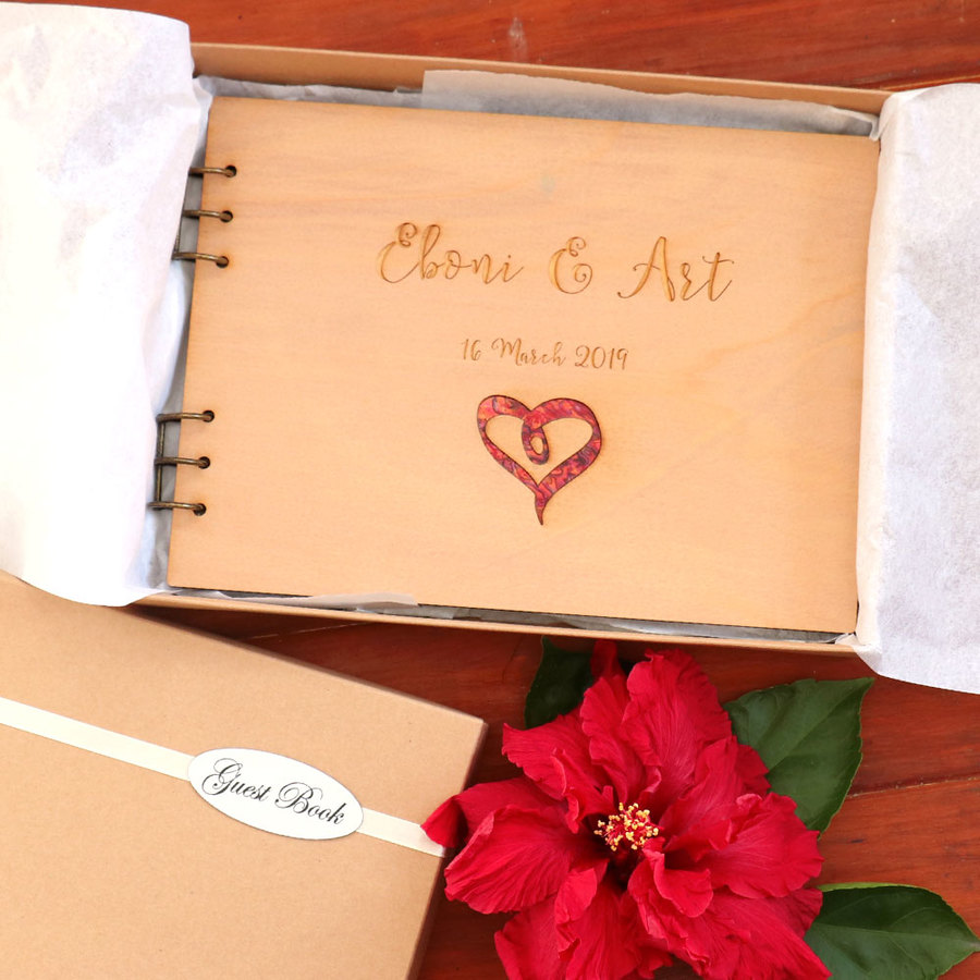 Wedding Book - Heart with Red Paua Inlay