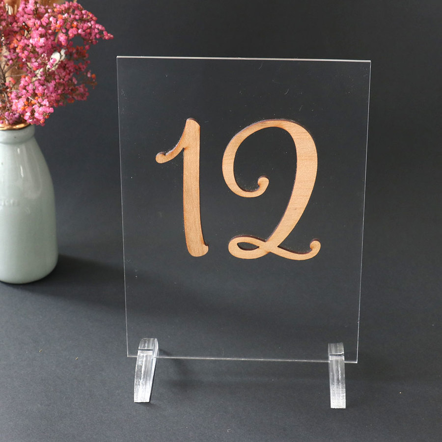 Wood & Acrylic Table Number Signs