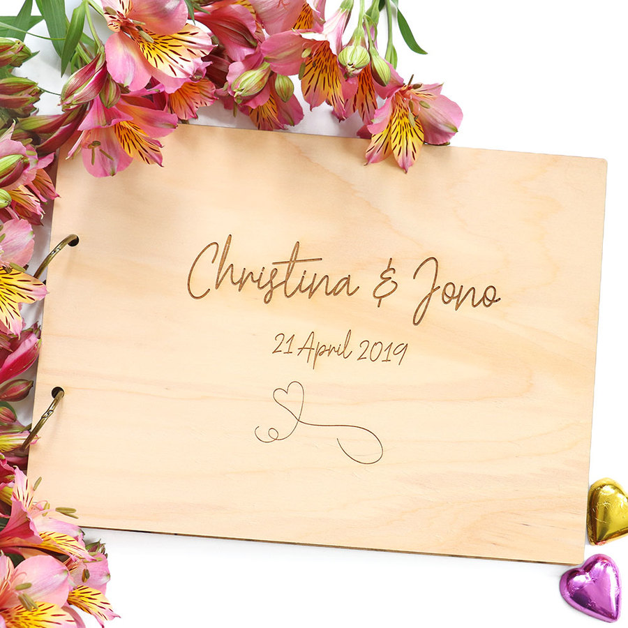 Guest Book - Personalised Wooden Cover with Handwritten Font