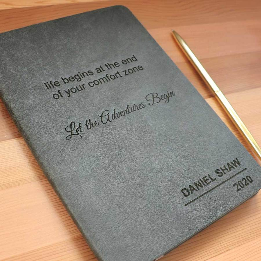 Personalised Leather Journal - Grey