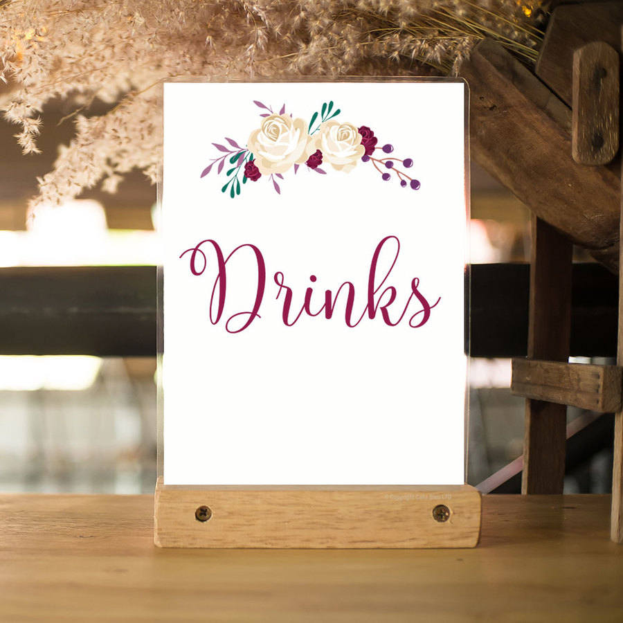 Drinks Poster A4 - Cream Rose Garland
