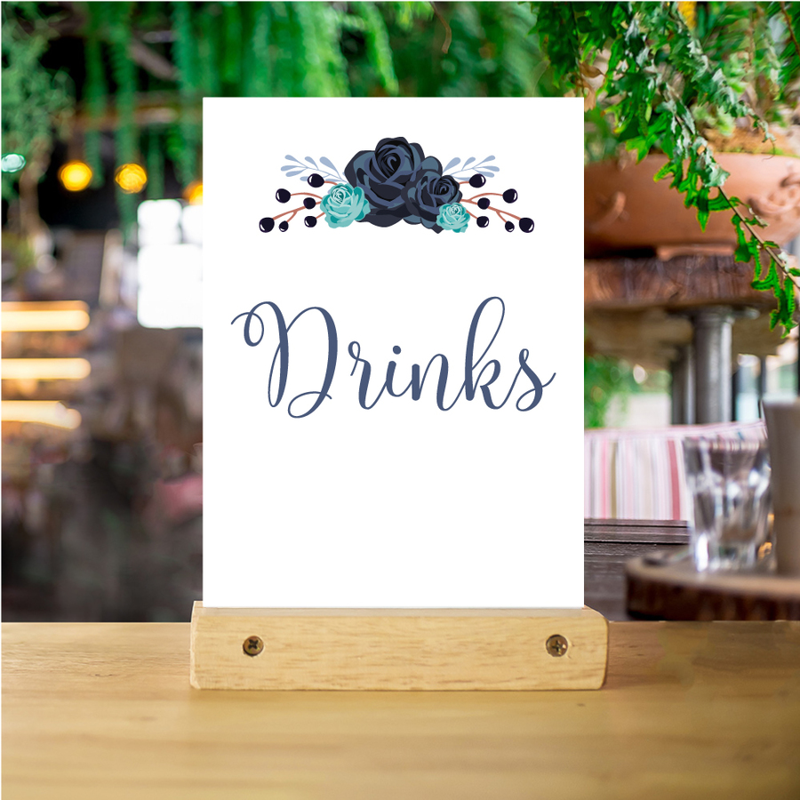 Alcholic Drinks Poster A4 - Black Rose Garland