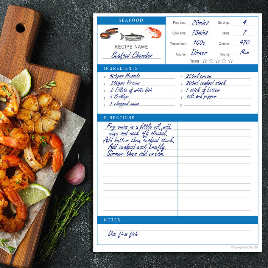 Recipe Page A4 - Seafood Theme