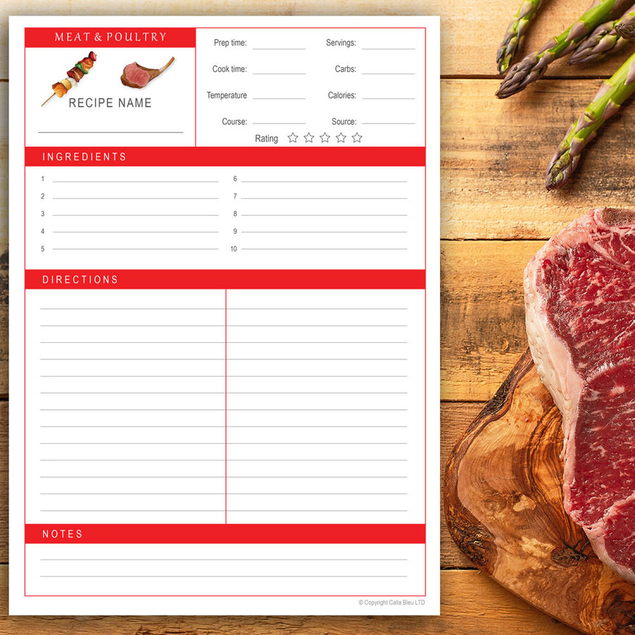 Recipe Page A4 - Meat & Poultry Theme