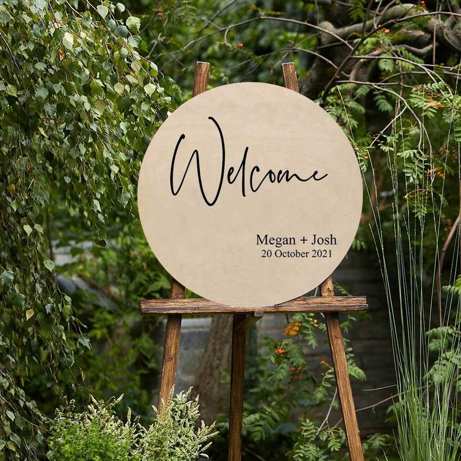 Custom Wedding or Event Welcome Circle Sign in Wood
