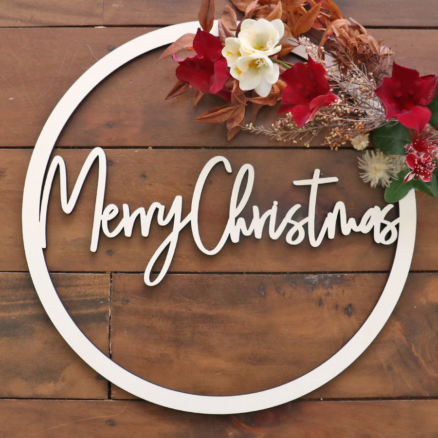 Merry Christmas Round Wooden Hoop Sign