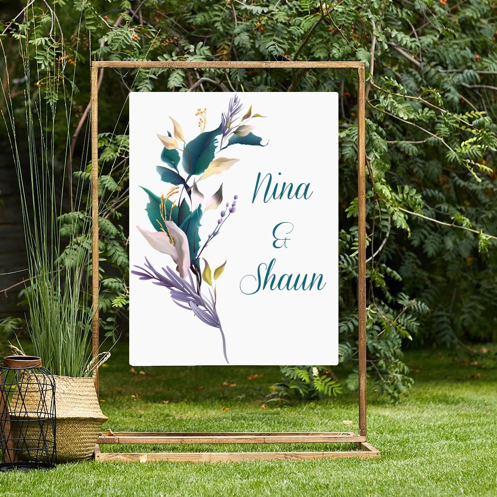 Wedding and Event Signage in Vinyl - Floral Foliage