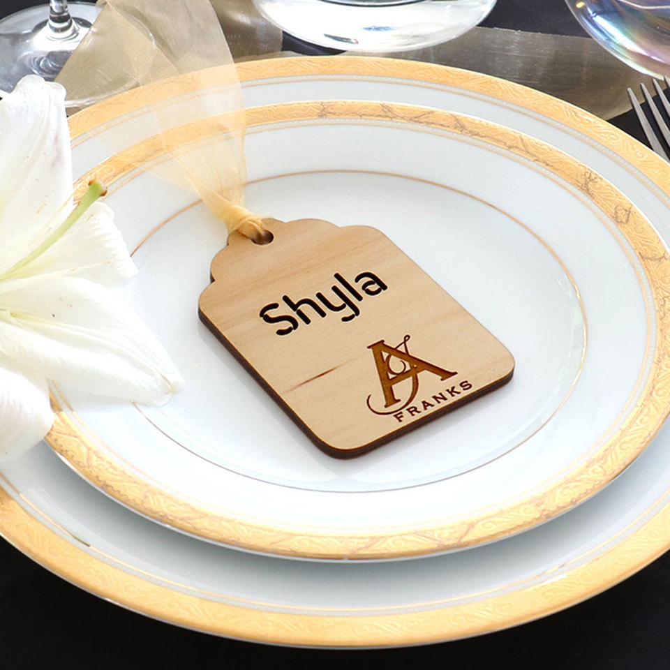 Personalised Favours for Weddings, Birthdays and anniversaries. Wood luggage travel tag