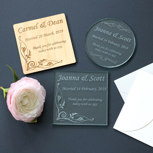 personalised wooden and glass coasters