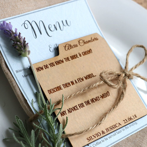 advice card wedding favours