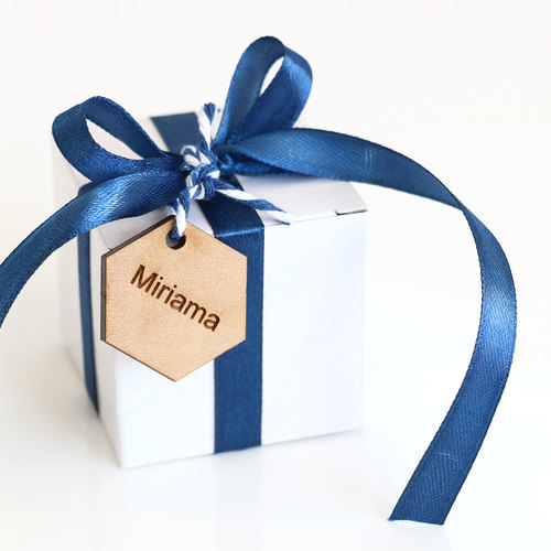 mystery box favour with personalised tag
